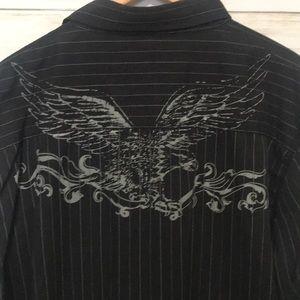 Machine eagle pinstriped button down LS shirt XL
